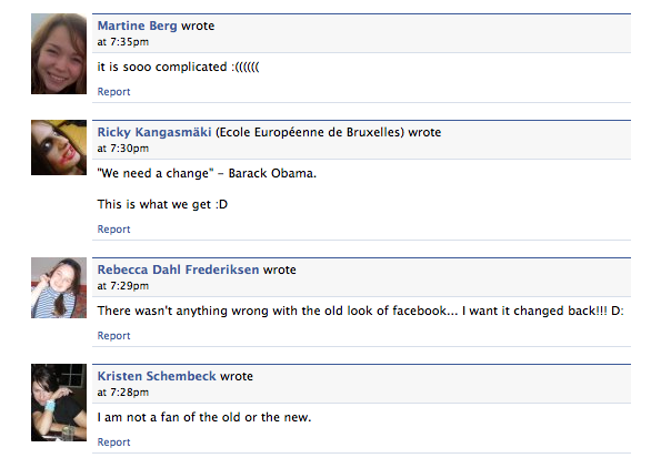 Some reactions to the new version of Facebook, March 2009.